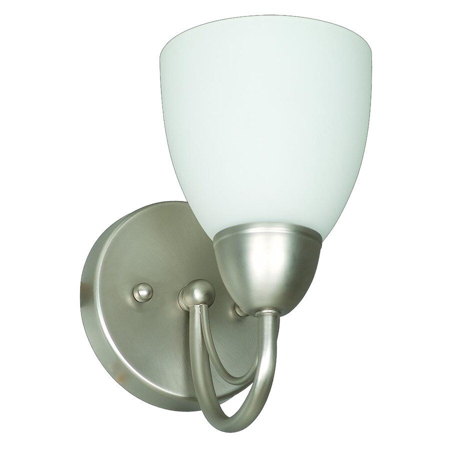 Shop Ashton 5.12-in W 1-Light Satin Nickel Candle Hardwired Wall Sconce at Lowes.com