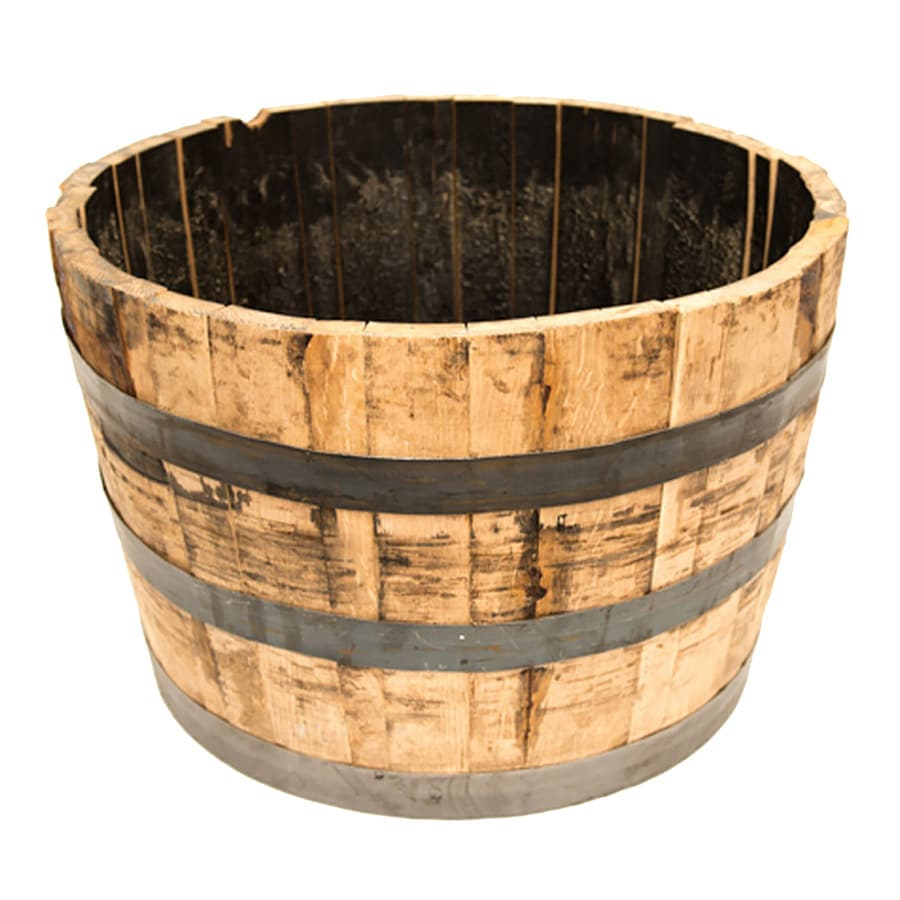 Real Wood Products 25.5-in x 17.5-in Rustic Weathered Oak Wood Barrel
