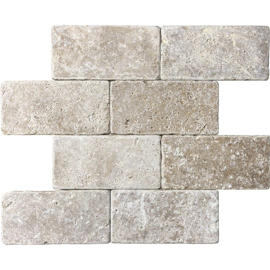 8-Pack 3-in x 6-in Brown Natural Stone Wall Tile
