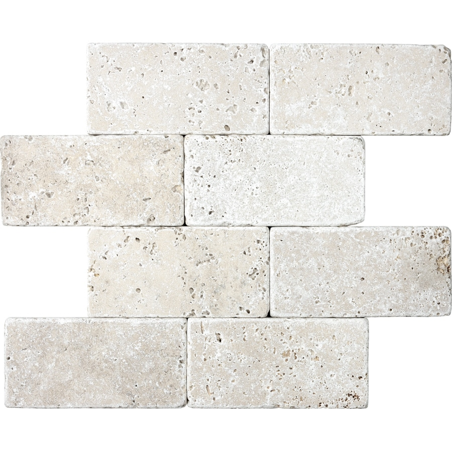 Shop 8 Pack Chiaro Tumbled Marble Natural Stone Wall Tile
