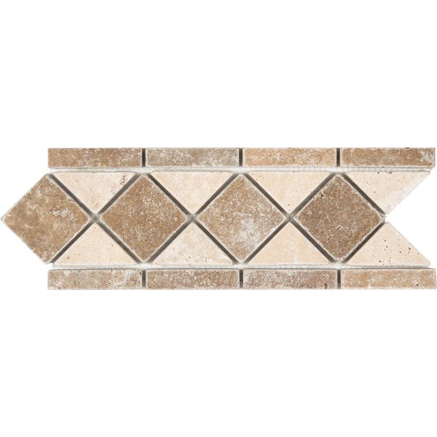 Anatolia Tile Noce and Chiaro Travertine Listello Tile (Common: 4-in x 12-in; Actual: 4.13-in x 11.29-in)