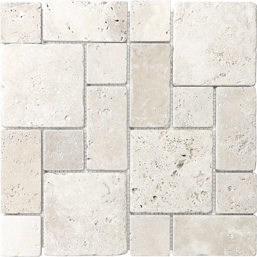Shop Anatolia Tile Chiaro Mixed Pattern Mosaic Travertine Wall Tile Common 12 In X 12 In