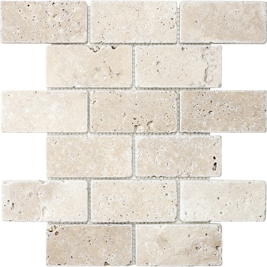 Shop anatolia tile chiaro tumbled subway mosaic travertine for Fan size for 12x12 room