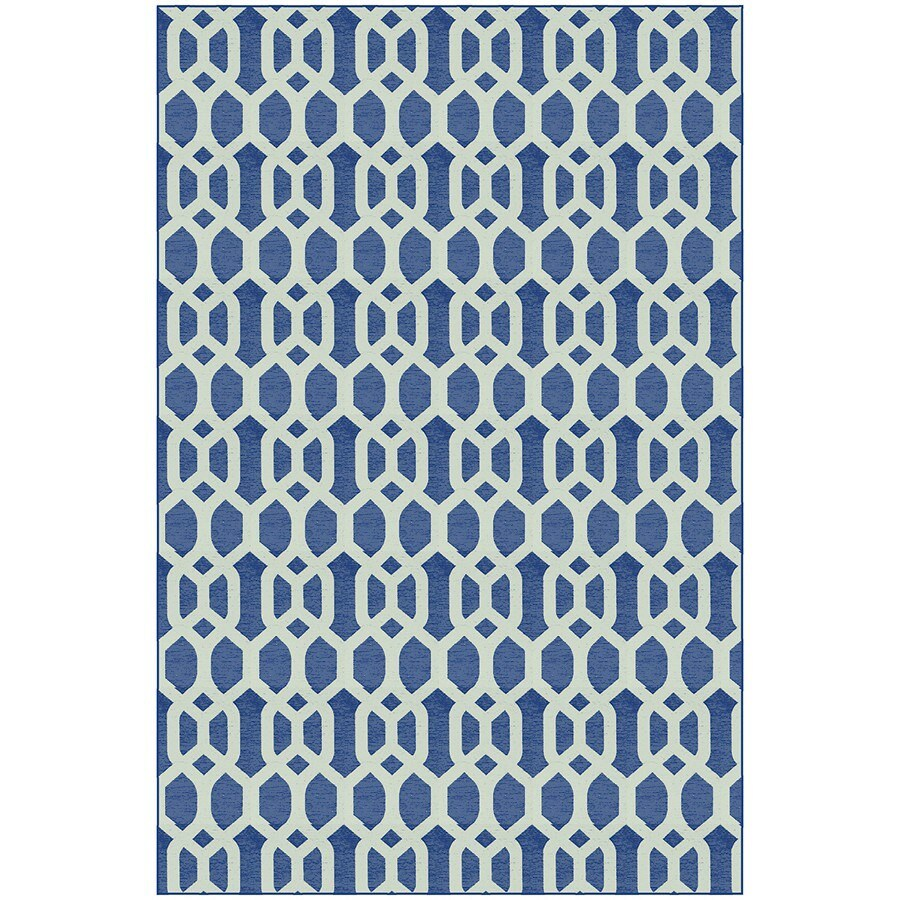 Navy Blue and White Rectangular Indoor Woven Area Rug (Common: 5 x 7; Actual: 58-in W x 88-in L)