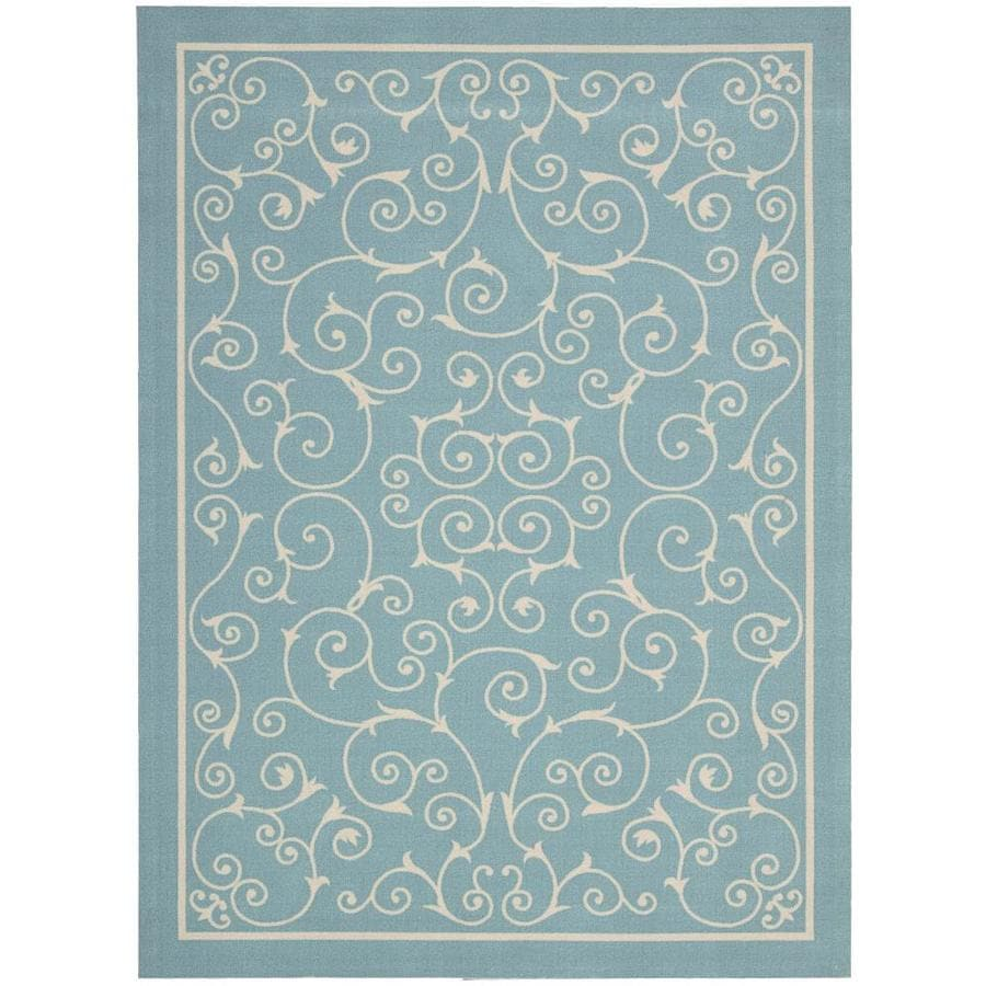 Home and Garden Home and Garden Light Blue Rectangular Indoor/Outdoor Machine-Made Area Rug (Common: 7 x 10; Actual: 93-in W x 130-in L)