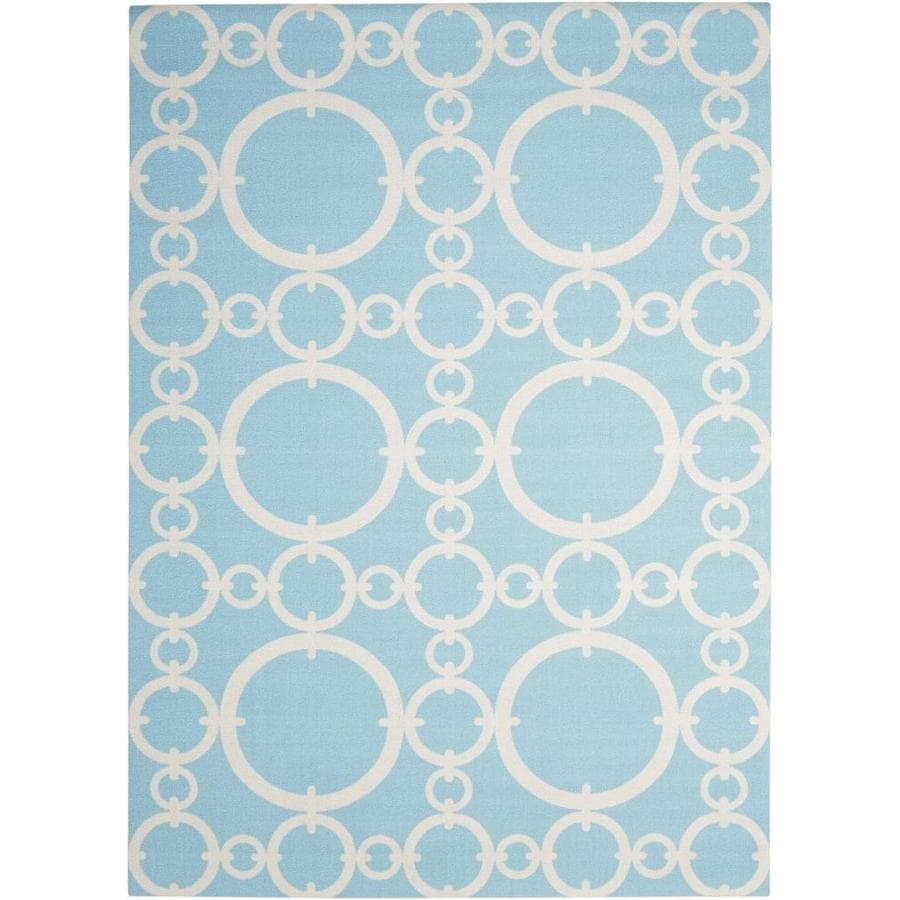 Waverly Sun and Shade Aquamarine Rectangular Indoor/Outdoor Machine-Made Area Rug (Common: 10 x 13; Actual: 120-in W x 156-in L)