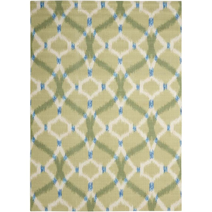 Waverly Sun and Shade Avocado Rectangular Indoor/Outdoor Machine-Made Area Rug (Common: 7 x 10; Actual: 93-in W x 130-in L)
