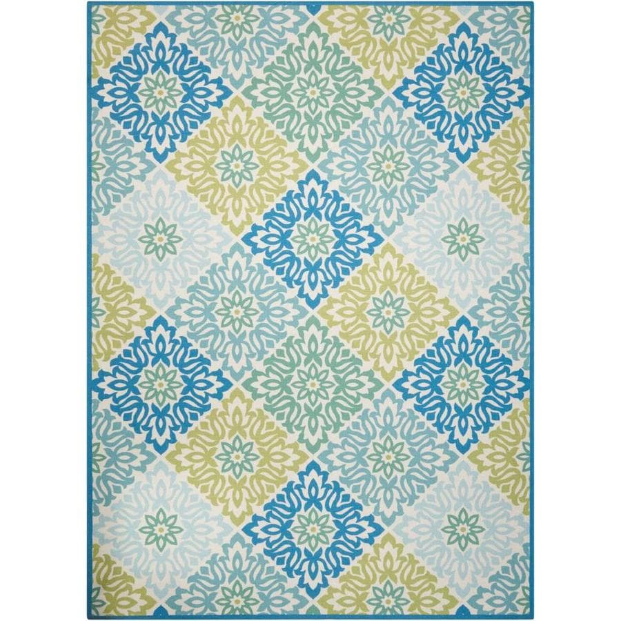 Waverly Sun and Shade Marine Rectangular Indoor/Outdoor Machine-Made Area Rug (Common: 7 x 10; Actual: 93-in W x 130-in L)