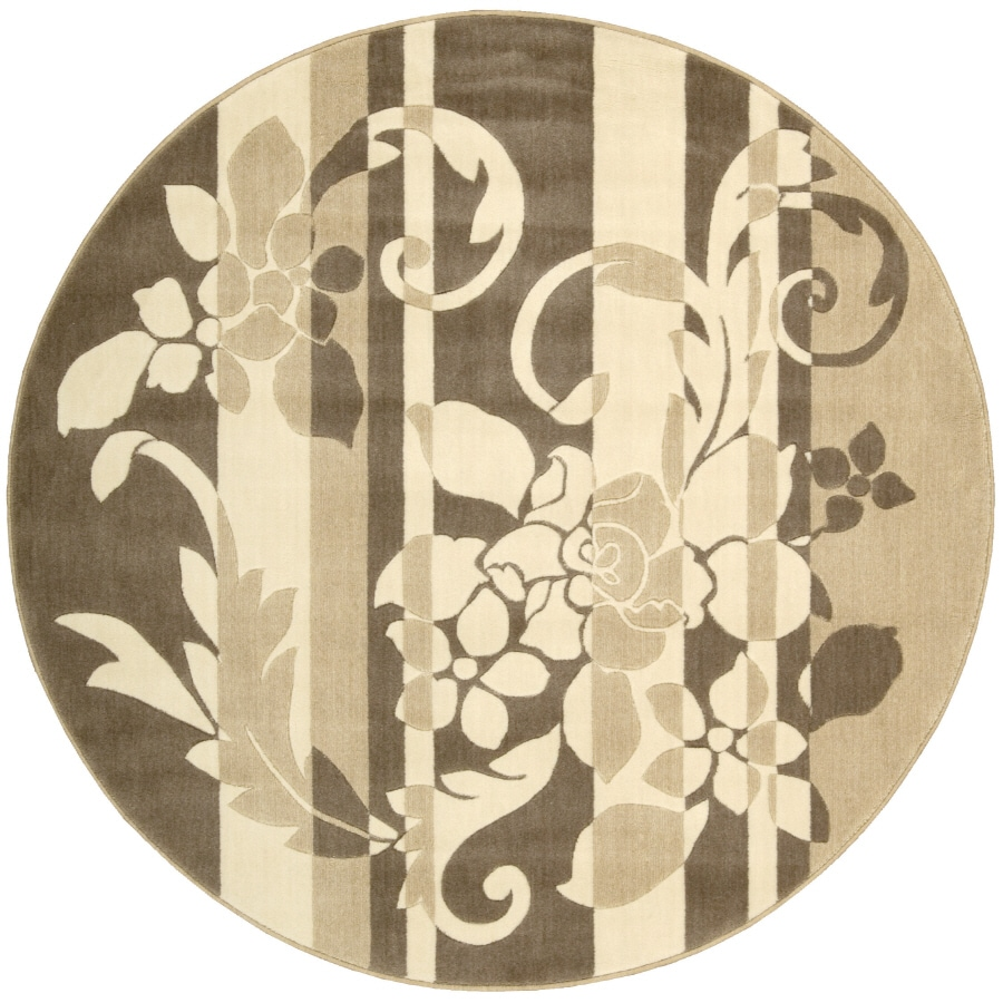 Nourison 5-ft 6-in Round Brown Sunset Area Rug
