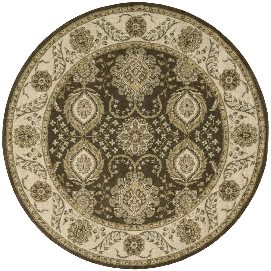 Nourison Round Brown Transitional Woven Wool Area Rug (Common: 6-ft x 6-ft; Actual: 5.5-ft x 5.5-ft)