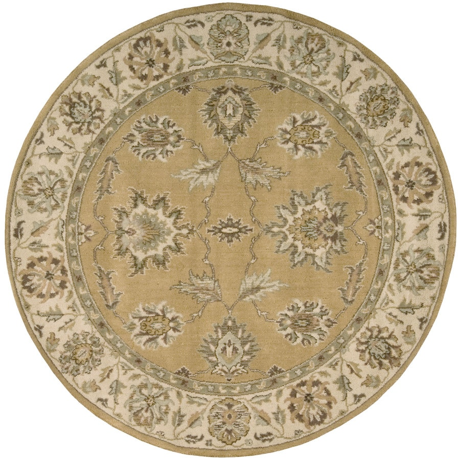 Nourison Round Yellow Transitional Woven Wool Area Rug (Common: 6-ft x 6-ft; Actual: 5.5-ft x 5.5-ft)