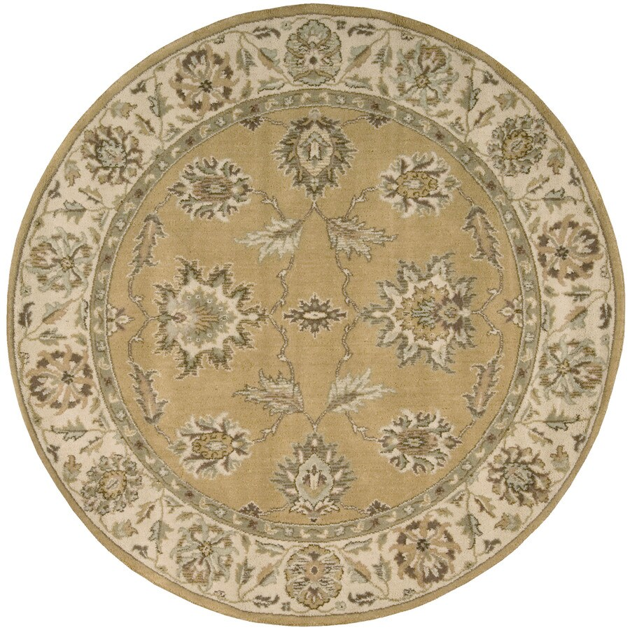 Nourison Round Yellow Transitional Woven Wool Area Rug (Common: 8-ft x 8-ft; Actual: 5.5-ft x 5.5-ft)