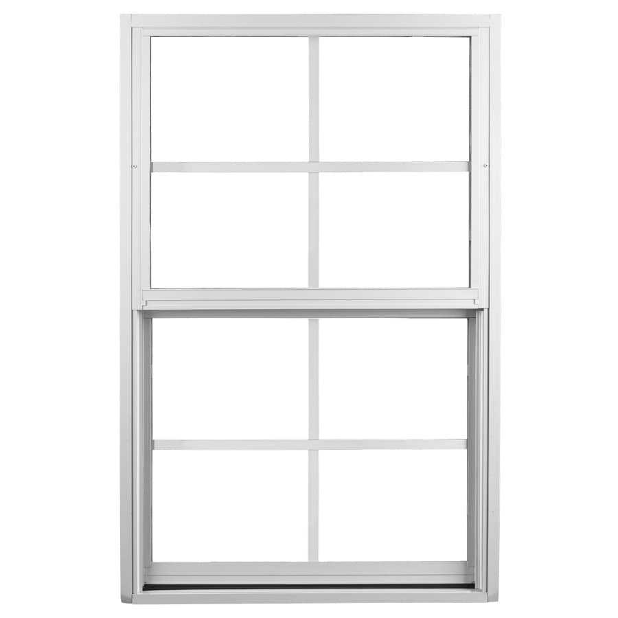 Ply Gem 1500 Series Aluminum Double Pane Single Strength Egress Single Hung Window (Rough Opening: 53.125-in x 50.625-in; Actual: 52.125-in x 49.625-in)