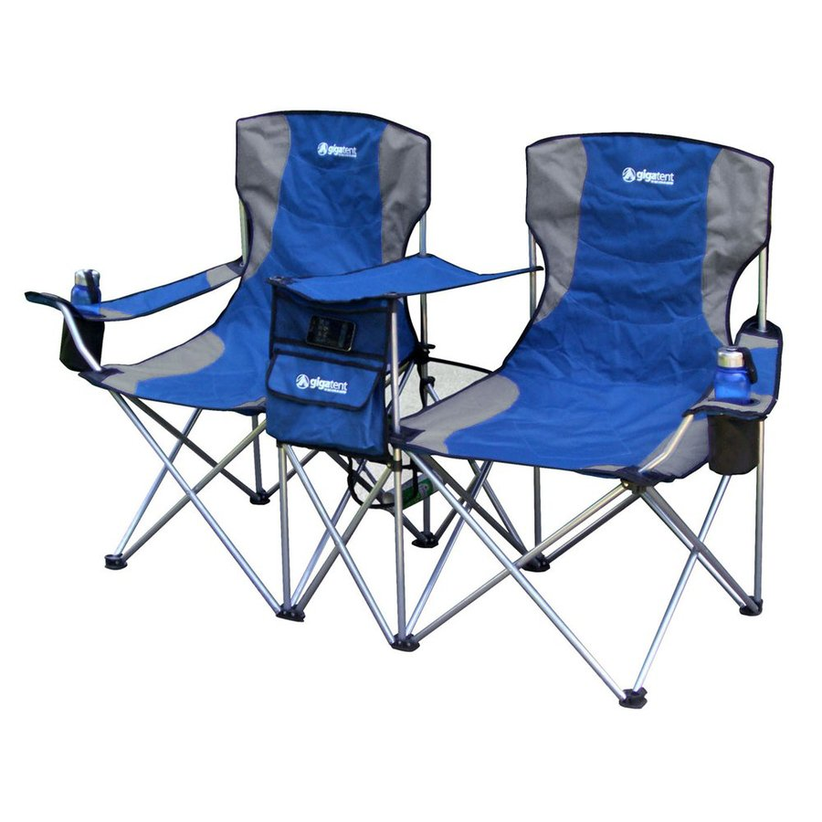 Gigatent Blue Steel Folding Side-By-Side Double Camping Chair