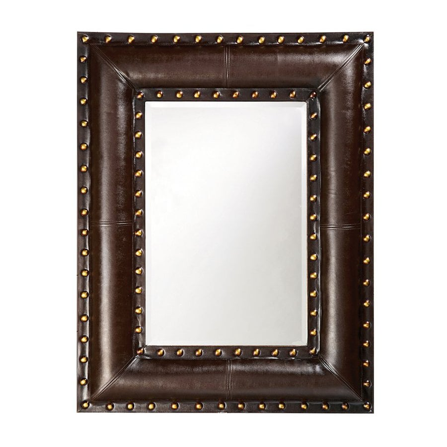 Tyler Dillon Palermo 35-in x 45-in Black/Brown Beveled Rectangle Framed Transitional Wall Mirror