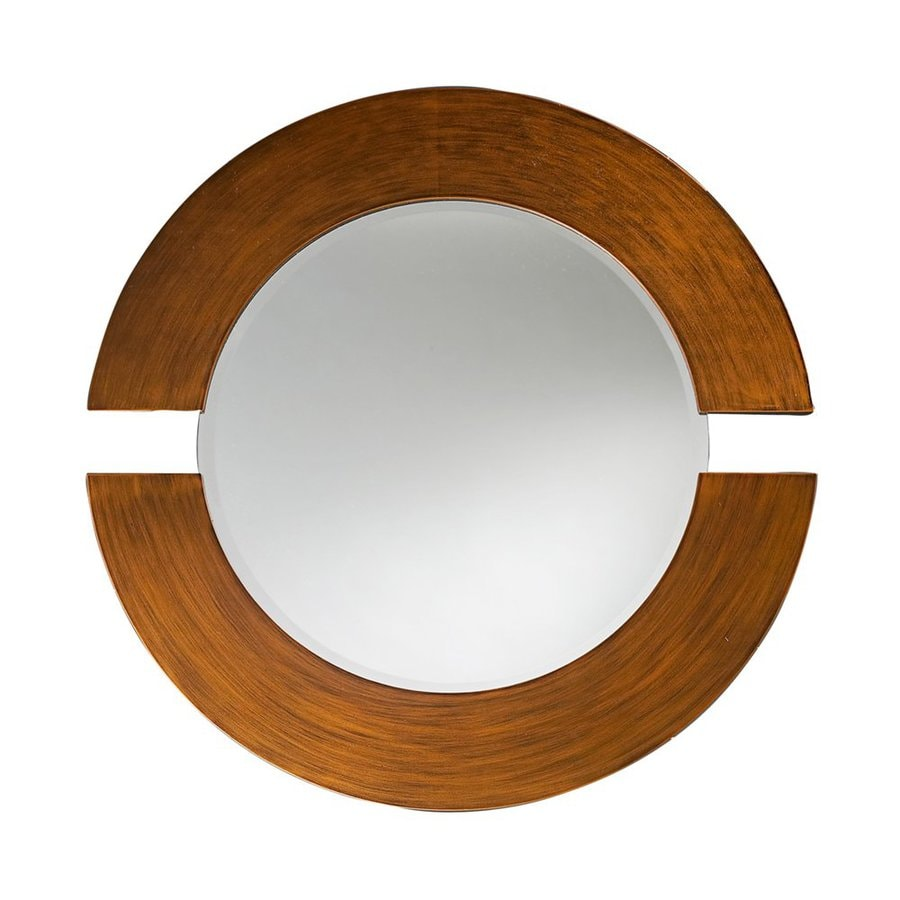 Tyler Dillon Orbit 38-in x 38-in Brushed Copper Beveled Round Framed Contemporary Wall Mirror