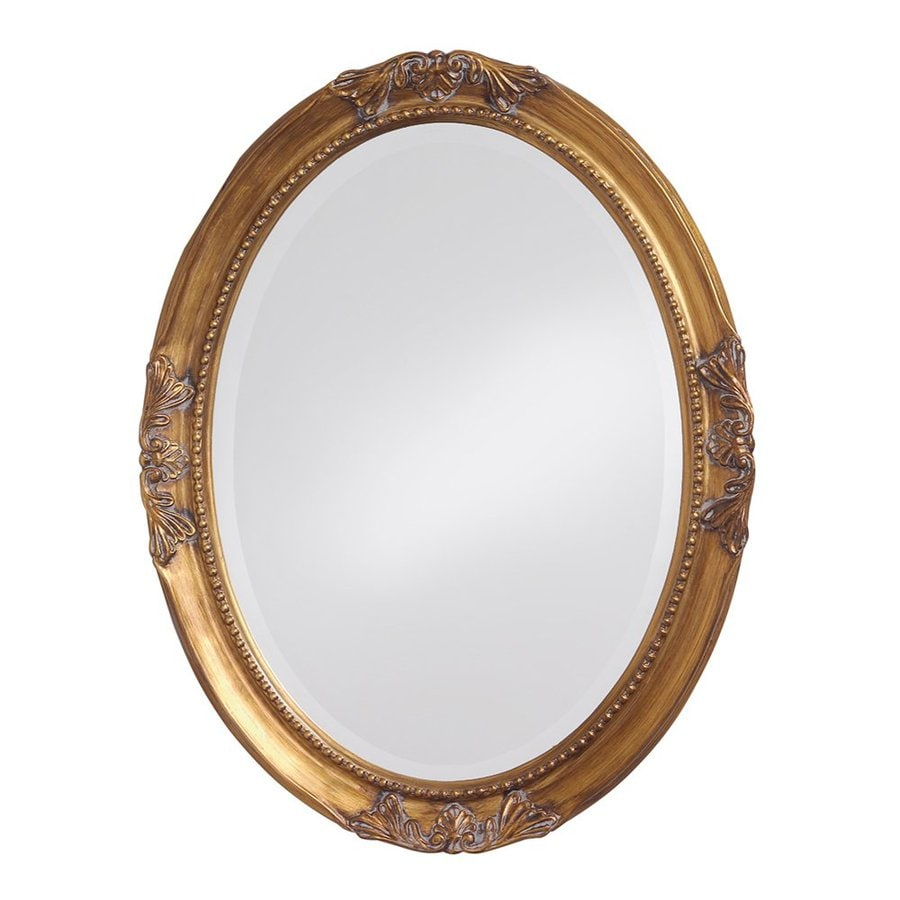 Tyler Dillon Ann 25-in x 33-in Gold Leaf Beveled Oval Framed Traditional Wall Mirror