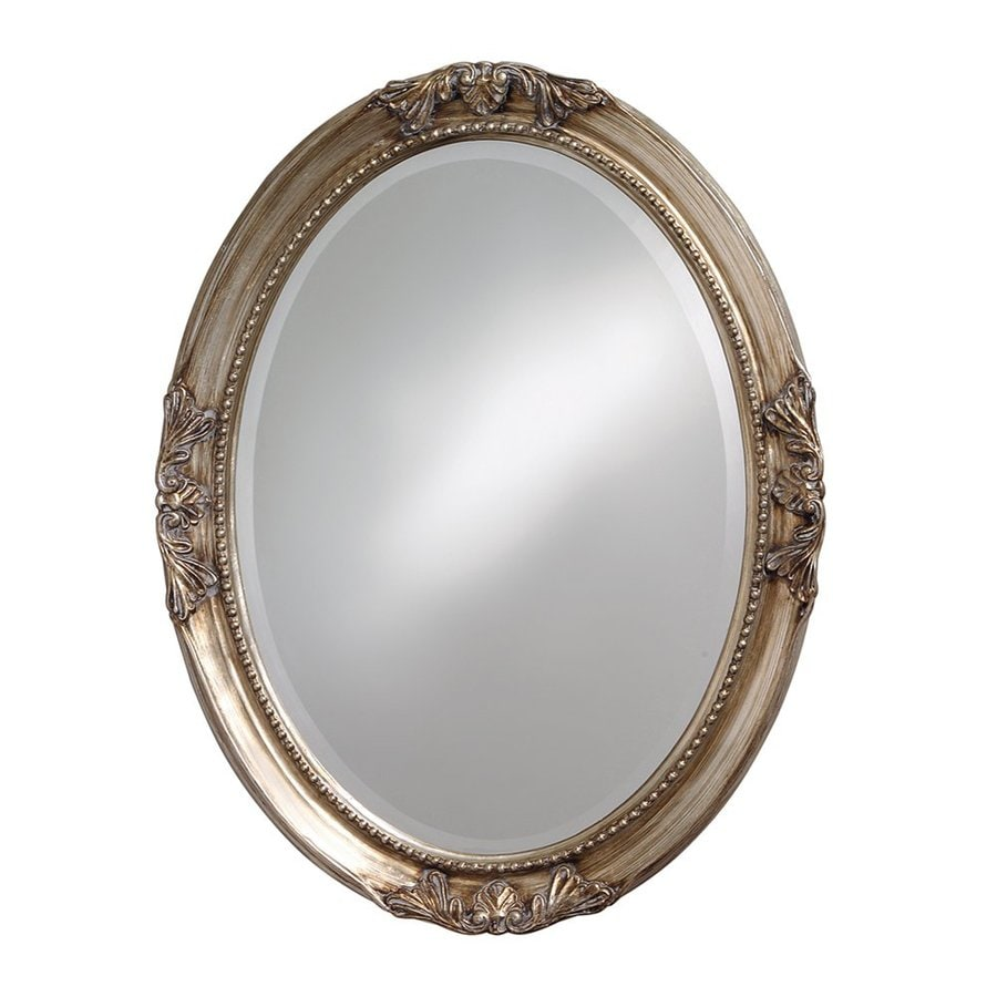 Shop tyler dillon ann 25 in x 33 in silver leaf beveled oval framed traditional wall mirror at