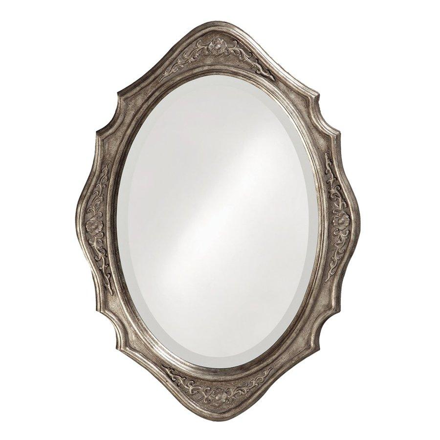 Tyler Dillon Trafalga 19-in x 27-in Virginia Silver Leaf Beveled Oval Framed Traditional Wall Mirror