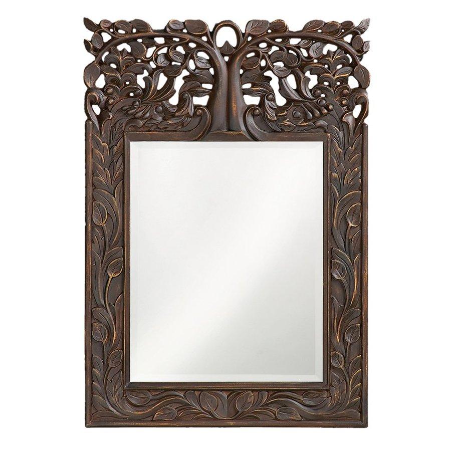 Tyler Dillon Oakvale 17-in x 25-in Antique French Brown Beveled Rectangle Framed Venetian Wall Mirror