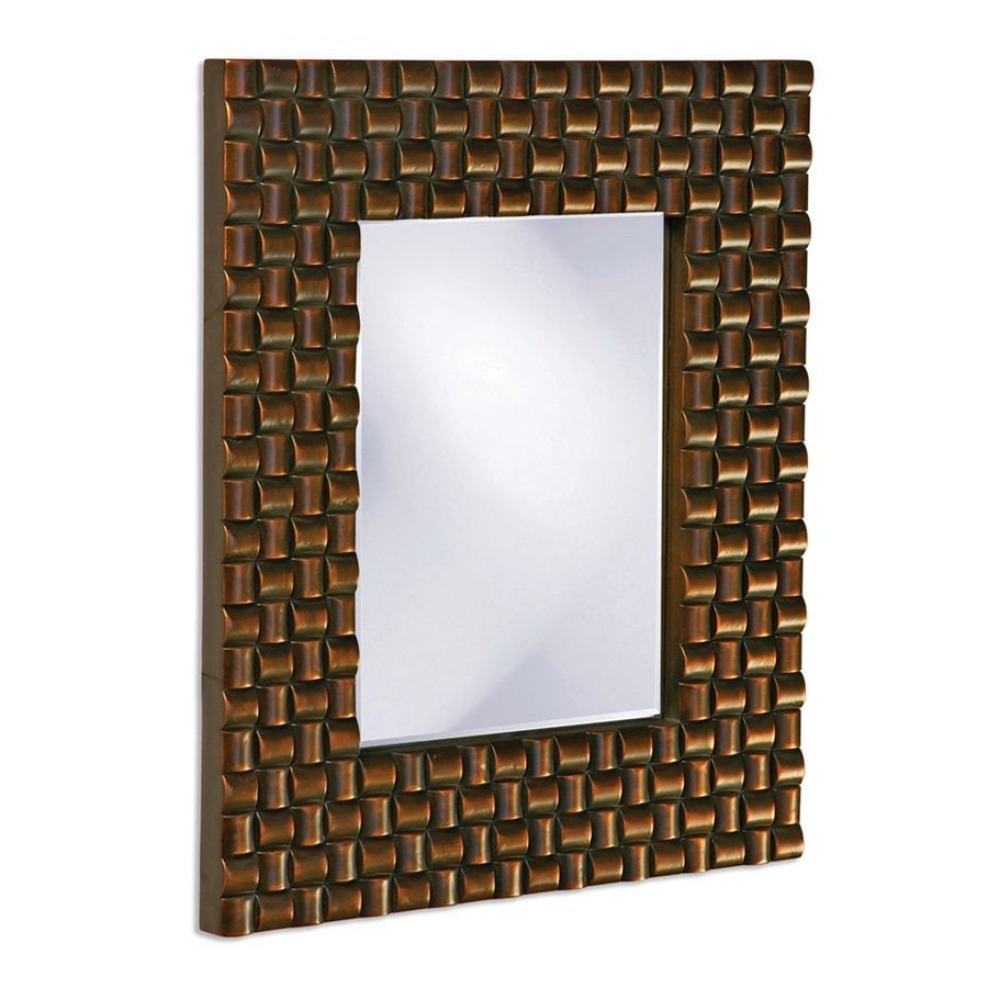 Tyler Dillon Justin 22-in x 26-in Copper Beveled Rectangle Framed Transitional Wall Mirror