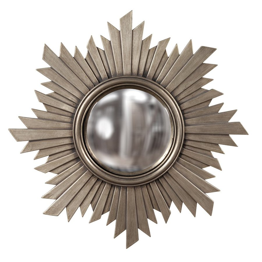 Tyler Dillon Euphoria 21-in x 21-in Nickel Polished Round Framed Sunburst Wall Mirror