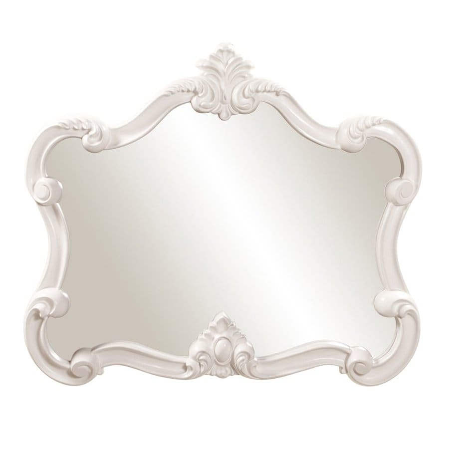 Tyler Dillon Veruca 32-in x 28-in Glossy White Polished Arch Framed Venetian Wall Mirror