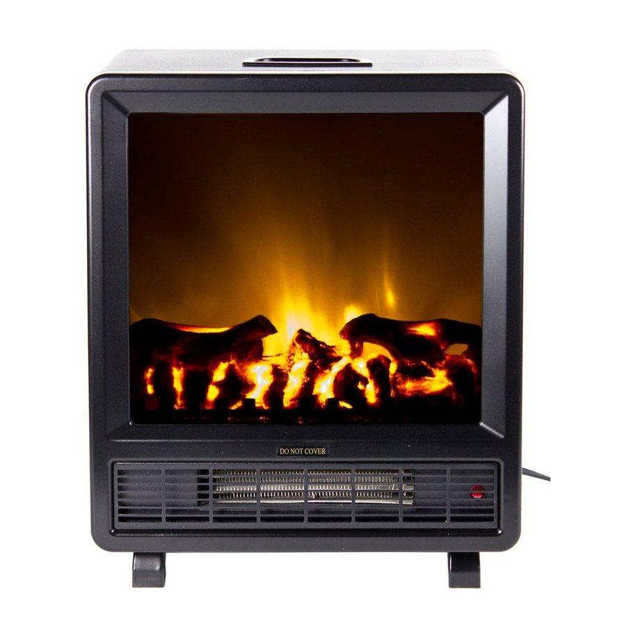 Warm House 14.5-in W 4,600-BTU Black Metal Fan-Forced Electric Fireplace