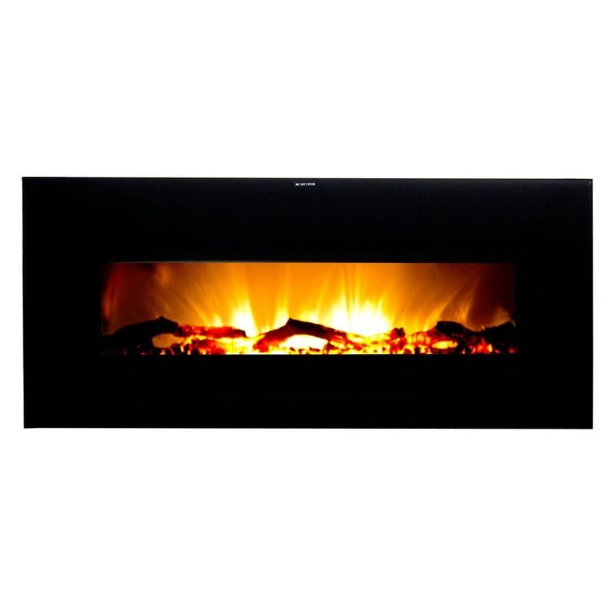 Warm House 50.4-in W 5,000-BTU Black Metal Wall-Mount Fan-Forced Electric Fireplace with Remote Control