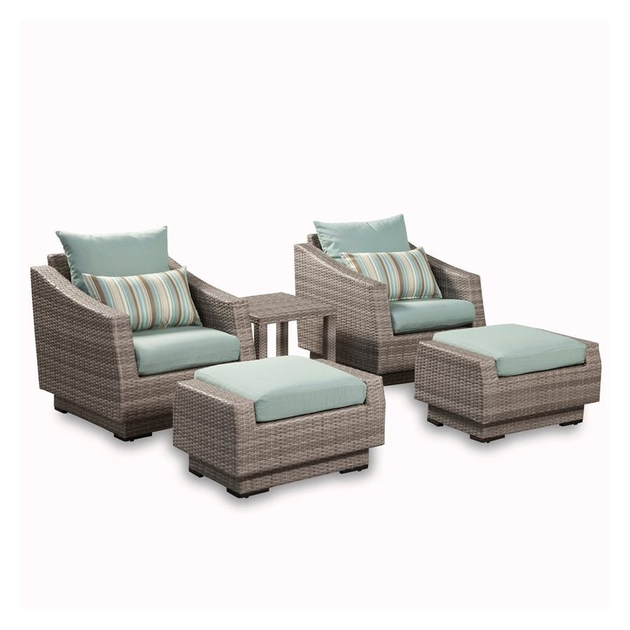RST Brands Cannes 5-Piece Wicker Patio Conversation Set with Bliss Blue Cushions