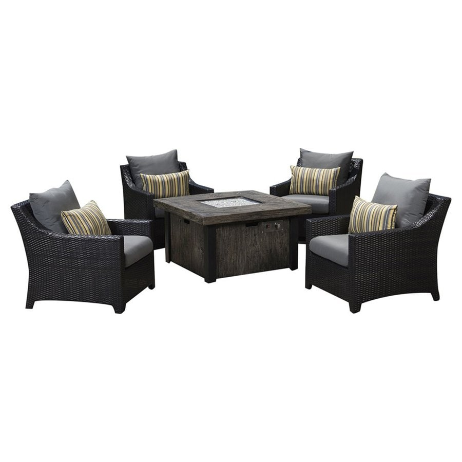 RST Brands Deco 5-Piece Wicker Patio Conversation Set with Charcoal Grey Cushions