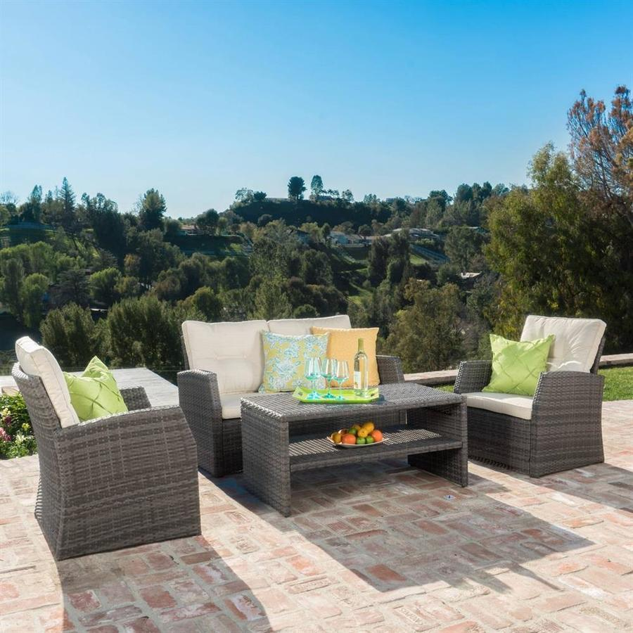 Best Selling Home Decor Sanger 4-Piece Wicker Patio Conversation Set