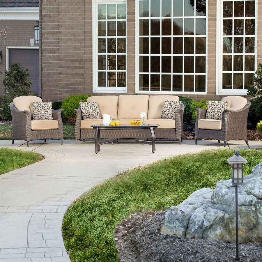 Hanover Outdoor Furniture Gramercy 4-Piece Wicker Patio Conversation Set with Tan Cushions