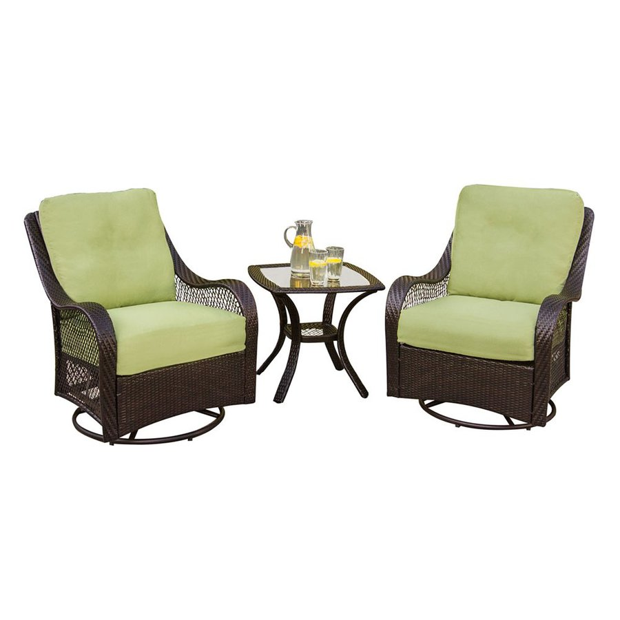 furniture orleans 3 piece wicker patio conversation set with green