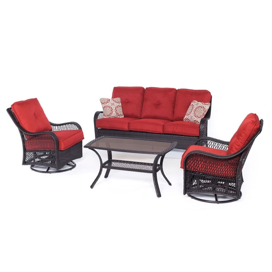 Shop Hanover Outdoor Furniture Orleans 4 Piece Wicker Patio Conversation Set With Berry Cushions