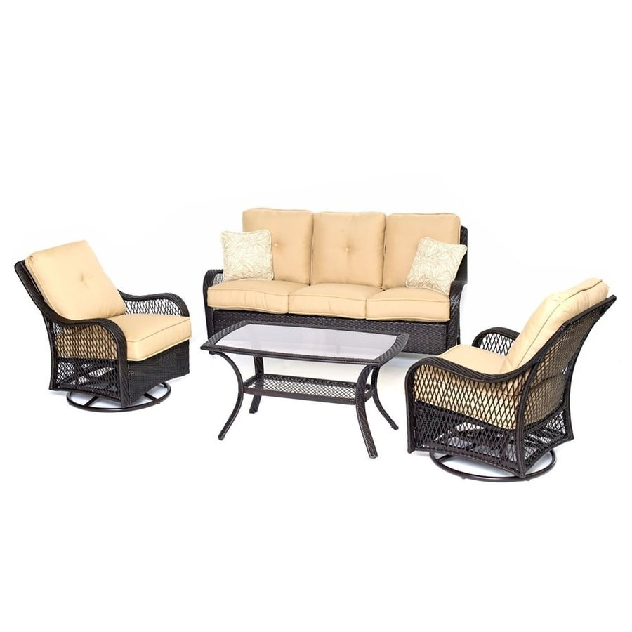Hanover Outdoor Furniture Orleans 4-Piece Wicker Patio Conversation Set with Tan Cushions