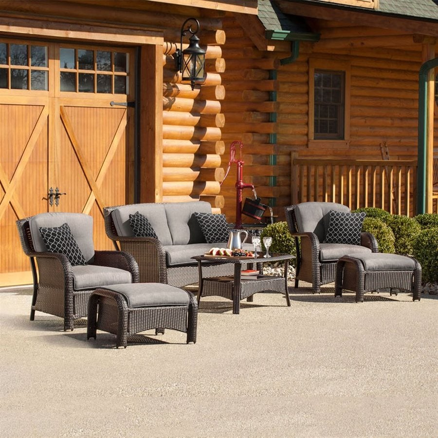 Hanover Outdoor Furniture Strathmere 6-Piece Wicker Patio Conversation Set with Silver Cushions