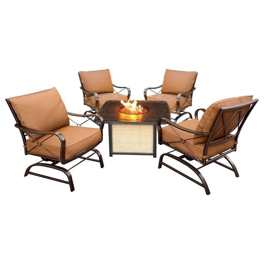 Hanover Outdoor Furniture Summer Night 5-Piece Aluminum Patio Conversation Set with Tan Cushions