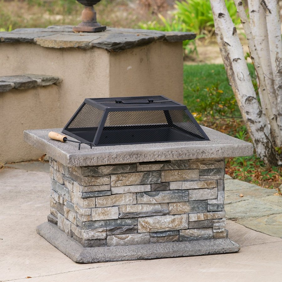 Shop best selling home decor 29 in w natural stone cement wood burning fire pit at - Outdoor stone decorations ...
