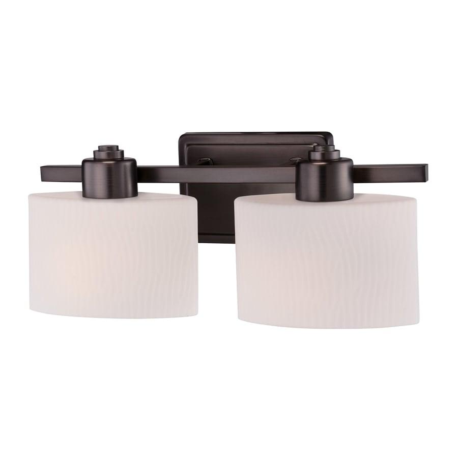 Shop allen roth 2 light harbor bronze oval vanity light at for Allen roth bathroom light fixtures bronze
