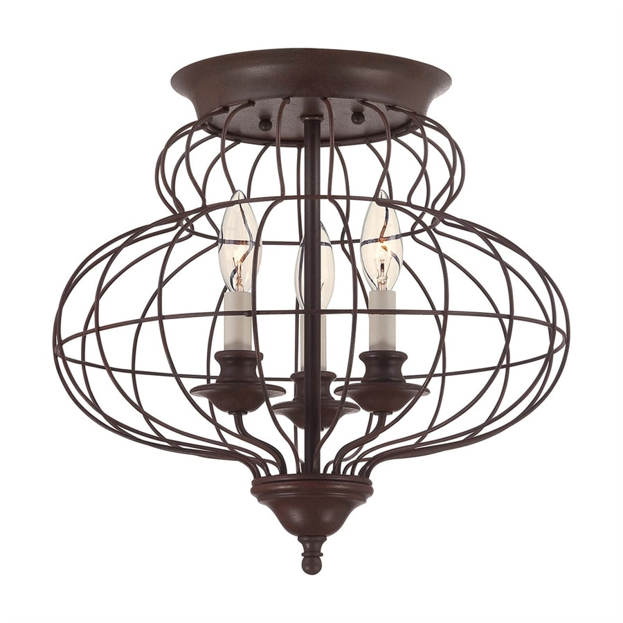 Quoizel 15-in W Rustic Antique Bronze Shades Semi-Flush Mount Light