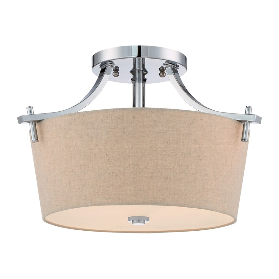 Quoizel 15.5-in W Polished Chrome Fabric Semi-Flush Mount Light