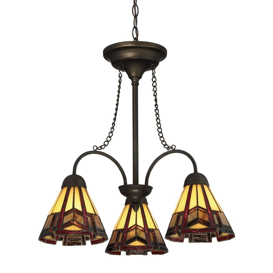 Quoizel 20.88-in 3-Light Antique Bronze Tiffany-Style Stained Glass Shaded Chandelier