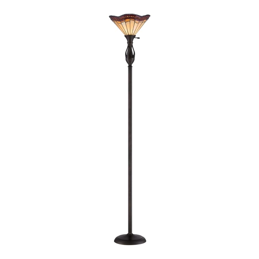 Quoizel 71-in Three-Way Antique Bronze Torchiere Indoor Floor Lamp with Tiffany-Style Shade