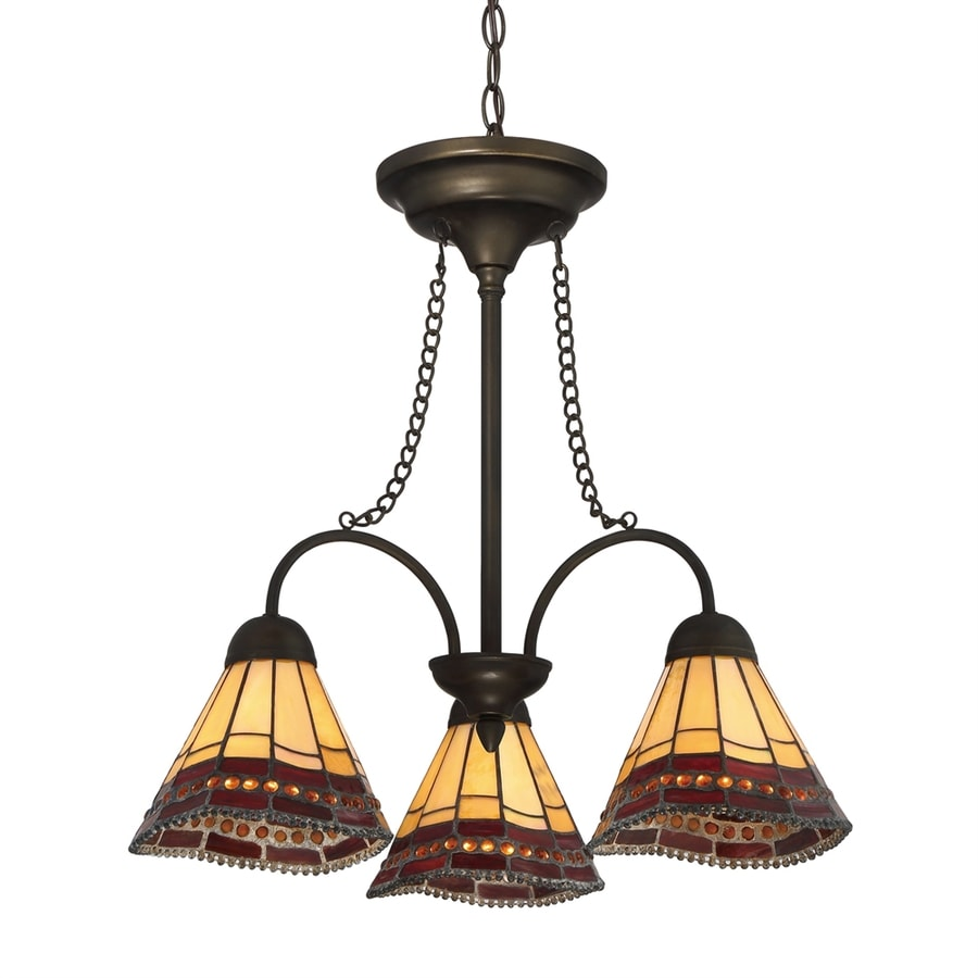 Quoizel 21.25-in 3-Light Antique Bronze Tiffany-Style Stained Glass Shaded Chandelier
