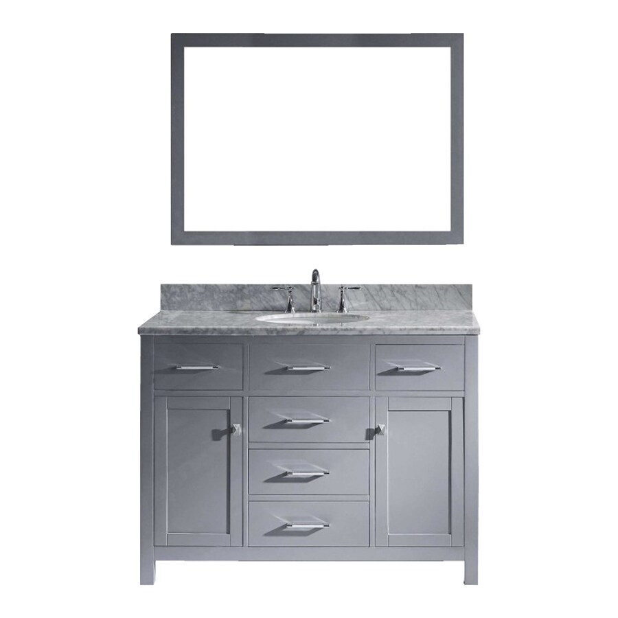 Virtu USA Caroline Gray Undermount Single Sink Oak Bathroom Vanity with Natural Marble Top (Mirror Included) (Common: 49-in x 22-in; Actual: 48.8-in x 21.9-in)