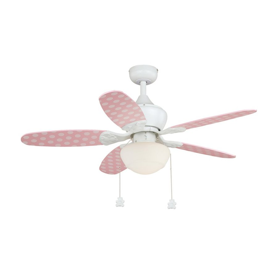 Cascadia Lighting Alex 44-in Pink Polka Dots Downrod or Close Mount Indoor Ceiling Fan Included (5-Blade)