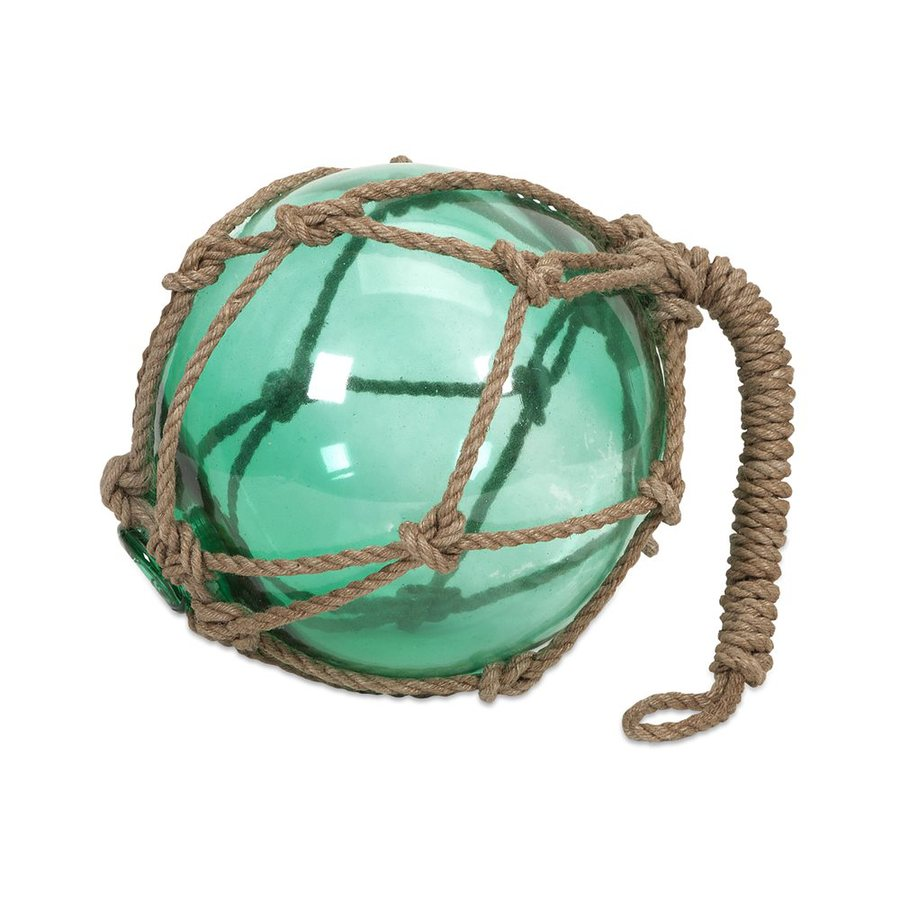 Imax Worldwide Green Buoyant Glass Float with Rope