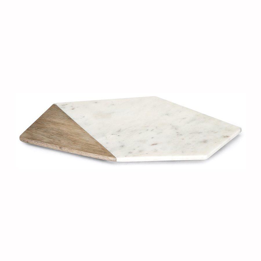 Imax Worldwide Verena 19-in x 7.75-in Marble Hexagonal Serving Platter
