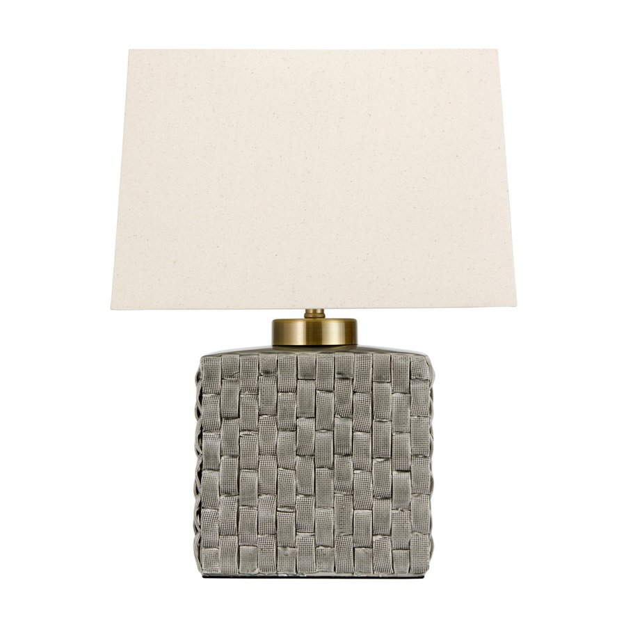 Oriental Furniture 23-in Gray Indoor Table Lamp with Fabric Shade